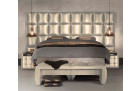 Boxspring Bed Las Vegas in synthetic leather - champagne