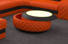 Luxury coffee table Charlotte with leather cover in orange black