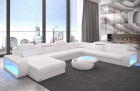 Leather sectional sofa Chesterfield Charlotte U Form - Leather white