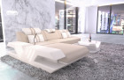 Modern fabric couch with ottoman and LED lighting - microfibre beige Mineva 1
