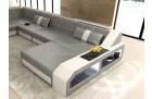Sectional Leather Sofa Houston XL grey-white