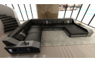 XL Leather Sectional Sofa with LED lights black-grey