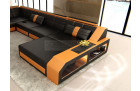 XL Leather Sectional Sofa with LED light black-orange