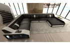 Sectional Leather Sofa Houston XL black-white