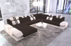 Fabric Couch Beverly Hills XXL Ottoman lighting woven material brown - Hugo 9