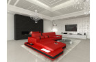 cosy red leather sectional sofa