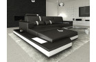 black leather corner Sofa with white stripes