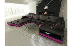 Designer Sofa Los Angeles with LED Lights in black-pink