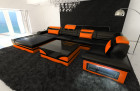 Design Leather Sofa Orlando with LED Lights black-orange