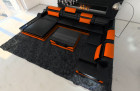 Design Sectional Sofa Orlando XL with LED Lights black-orange