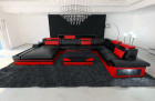modern leather sofa orlando black-red