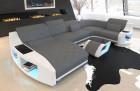 Fabric Landscape Palm Beach with Recamiere and USB Port Mineva 15 - grey
