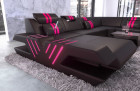 Luxury Leathercouch Couch Beverly Hills U Shape with Ottoman and LED lights - black