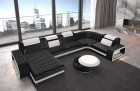 Elegant sectional sofa Charlotte U with Ottoman velvet fabric - black Sun Velvet 1015