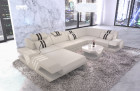 Leathercouch Couch Beverly Hills U Shape with Ottoman and LED lights - beige