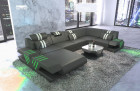 Sectional Couch Beverly Hills U Shape with Ottoman and LED lights - grey
