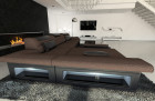 Fabric Sofa Chicago L Shape LED brown - Hugo 8