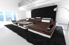 Design sofa Chicago U Shape darkbrown-white