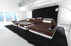 Design sofa Chicago U Shape darkbrown-white