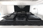 Modern Leather Sofa Chicago with LED black-grey
