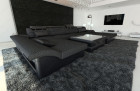 Design Sectional Sofa Chicago with LED darkgrey - Hugo 12