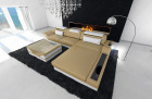 L Shape design Sofa with LED Lights sandbeige-white