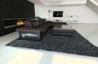 Modern Corner Sofa Orlando with LED Lights darkbrown - Hugo 11