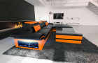 Designsofa Sand Francisco L Shaped black-orange