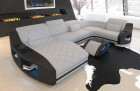 Fabric Couch Palm Beach with Ottoman and LED lighting in Mineva 2 - alaskagrey