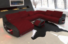Modern sofa Swing XXL in fabric with cooling cup holders in Mineva 10 - dark red