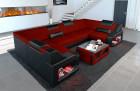 Fabric Sofa Manhattan U shape with LED and headrests in microfiber fabric Mineva 10 - dark red