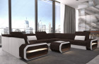 Luxury sectional sofa Seattle U with LED light and structured fabric Hugo 11 - black-brown
