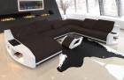 Upholstered Couch Palm Beach XXL with LED lighting in Hugo 10 - dark brown