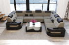 Design Sectional Couch with Recamiere and LED lights - grey Fabric Hugo 4
