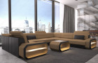 Modern fabric sofa Seattle U in microfiber fabric Mineva 9 - sandbeige