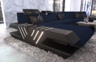 Fabric Couch Sectional Sofa Beverly Hills microfibre dark blue - Hugo 17