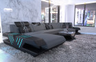 Fabric couch Sectional Sofa Beverly Hills microfibre dark grey - Mineva 15