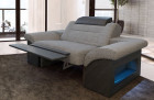 Relax armchair modern Chicago mit adjustiable headrest strucured fabric - grey Hugo 5