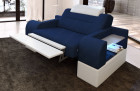 Upholstered armchair modern Orlando LED in with opt. relax function - blue Mineva 17