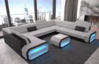 Luxury fabric sofa Seattle U with LED light and microfiber fabric Mineva 2 - light grey