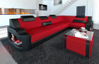 Fabric corner sofa Manhattan L with LED lighting in microfibre fabric Mineva 20 - red