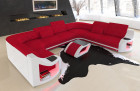 Upholstery fabric sofa Columbia with adjustable headrests in microfibre Mineva 20 - red