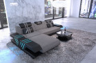 Designer sofa upholstered Couch recamiere and LED lighting - structured fabric gray Hugo 3