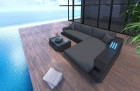 Patio Furniture Outdoor Sofa Hollywood L Shape with Lights black-grey
