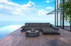 Wicker Patio Sofa Hollywood L Shaped with LED black-grey