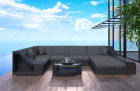 Wicker Patio Sofa New York U Shaped with LED black-grey