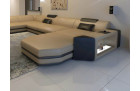design sofa Dallas u shaped sandbeige-darkbrown