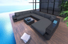 Patio Furniture Outdoor Sofa Hollywood U Shape with Lights black-grey