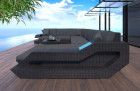 Wicker Patio Sofa Hollywood U Shaped with LED black-grey