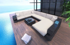 Patio Furniture Outdoor Sofa Hollywood with Lights black-beige